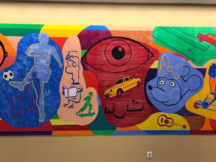 Kunstverk av Christian Montarou på Luhr skole i Lørenskog.